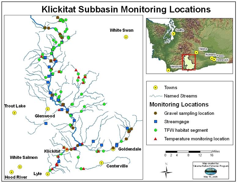 Klickitat subbasin data for Columbia river fishing map